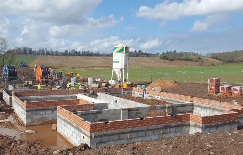 DBA Homes Morville Update - Two of our Oak 5-bedroom house types, Plots 7 and 8, progressing well out of the ground.